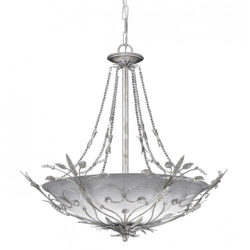 Crystorama 4700-SL Leaf, Flower, Fruit Six Light Chandeliers from Primrose collection in Pwt, Nckl, B/S, Slvr.finish,
