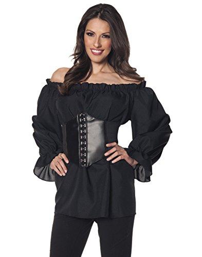 Underwraps Renaissance Long Sleeve Womens Adult Shirt, Black, XX Large ()