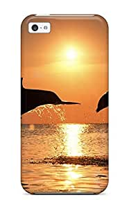 AnnDavidson MTvuULs13327pMAmk Case Cover Skin For Iphone 5c (dolphins In Sunset)