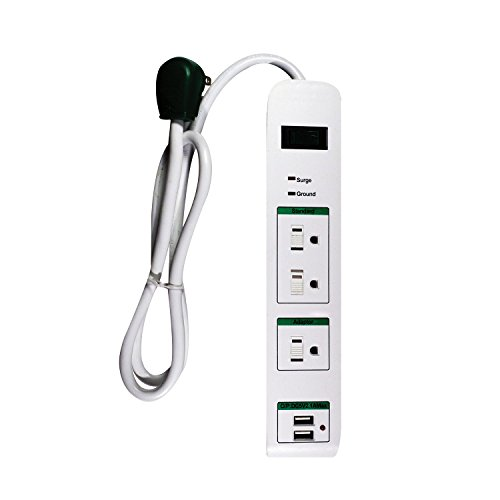 GoGreen Power GG-13103USB - 3 Outlet Surge Protector with 2 USB Ports