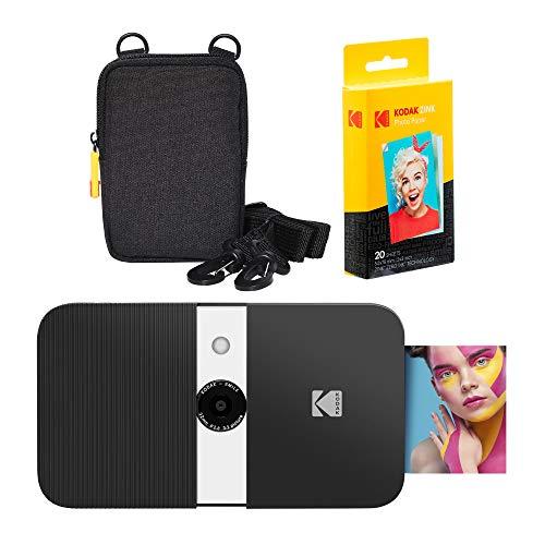 KODAK Smile Instant Print Digital Camera (Black/White) Soft Case Kit