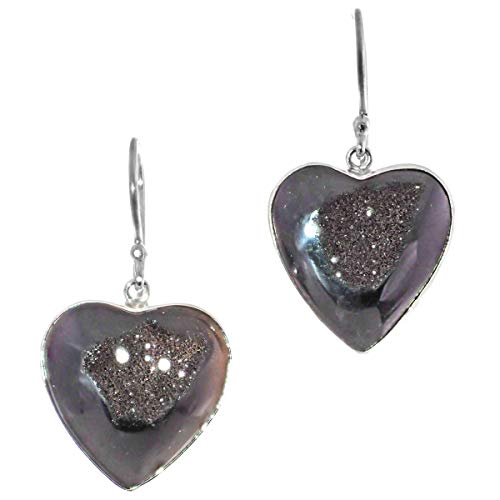 Teardrop Black Titanium Druzy 925 Sterling Silver Earrings, 1