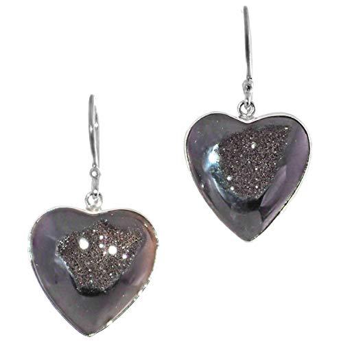 (Teardrop Black Titanium Druzy 925 Sterling Silver Earrings, 1