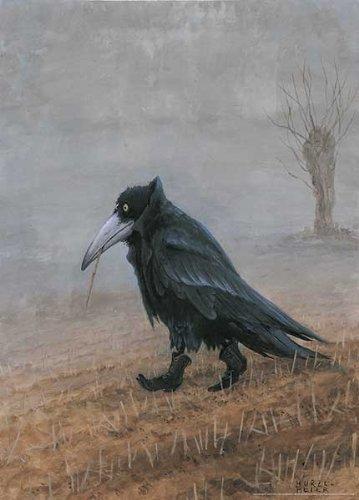 - Krahe Rudi Hurzlmeier Black Raven Crow In Boots Fantasy Art Print Poster 19.75x27.5