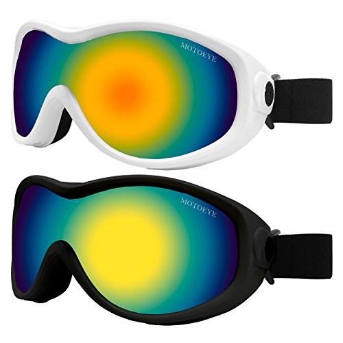 MOTOEYE Snow Ski Goggle with Anti-fog Wipe Cloth,Pack of 2 Skiing Goggles in Aviator Style for Youth,Boys,Girls,Kids,Men,Women,Also Fit Motorcycle,Bicycling,Hiking,Fishing Use