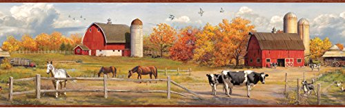Red Rooster Border (Chesapeake HTM48431B Winslow Red American Farmer Portrait Wallpaper Border)