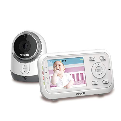 "VTech VM3253 Video Monitor with 2.8"" Auto On Screen, Invisible LED Infrared Night Vision, 2-Way Talk, Sound & Temperature Alert, Lullabies, Up to 1000ft Range, Plug&Play System with Wall-mount Bracket"