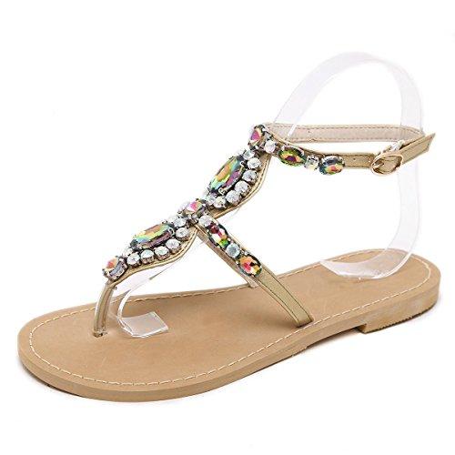 YEEY Estilo bohemio de las mujeres de diamantes de imitación ronda peep clip toe de tacón plano t-strap Bohemia sandalias romanas de cuero auténtico verano Beach post sandalias apricot