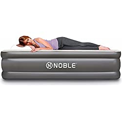 Noble QUEEN SIZE Comfort DOUBLE HIGH Raised Air Mattress - Top Inflatable Airbed with Built-in Pump - Elevated Raised Air Mattress Quilt Top & 1-year GUARANTEE