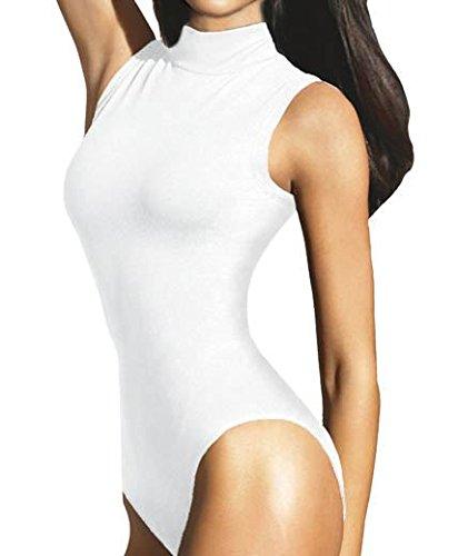 1d823e343 RageIT Ladies Sleeveless Turtleneck Bodysuit, Leotard Top in White Size M  (UK 12/