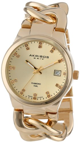 Akribos XXIV Women's AK608YG Impeccable Diamond Swiss Quartz Twist Chain Bracelet Watch