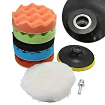 "LTC 7Pcs 5/6/7"" Sponge Polishing Waxing Buffing Pads Kit Set Compound Auto Car Polisher + M14 Drill Adapter Kit (7"")"