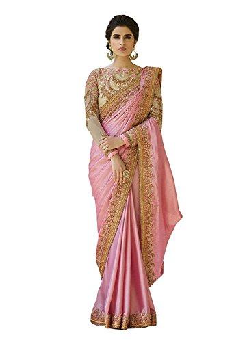 Magneitta Women's Crepe Chiffon Saree With Blouse Piece Free Size (Pink Saree)