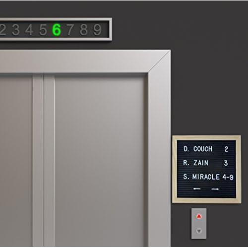 "10"" x 10"" Black Letter Board w/ Wood Frame & 290 White Alphanumeric ¾-Inch Letters, Changeable Felt Board with Oak Frame"