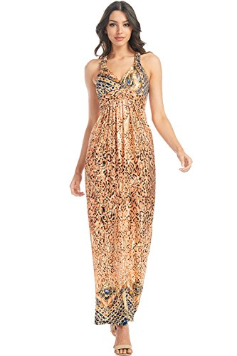 Chain Back Dress (BellaTi Printed Racer Back Maxi Dress With Bra Cups (Orange Navy Chain-1XL))
