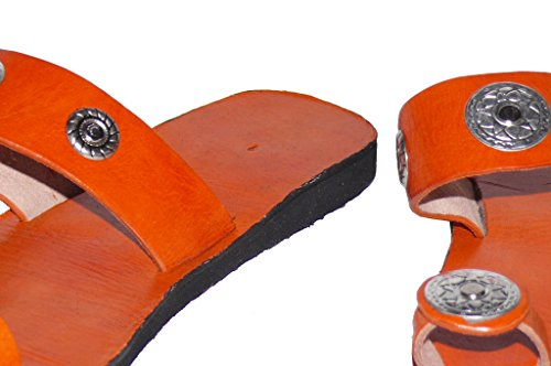 Marrakech Accessoires - Sandalias Romanas de cuero mujer Orange