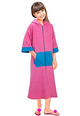 Girls Long Sleeve Zip Up Terry Coverup Swim Robe With Hood
