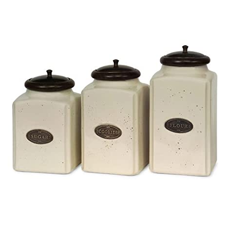 IMAX 5358-3 Ivory Canisters – Set of 3 Kitchen Containers with Mango Wood  Lids, Handcrafted, Food Safe Ceramic Canisters. Kitchen Organizing ...