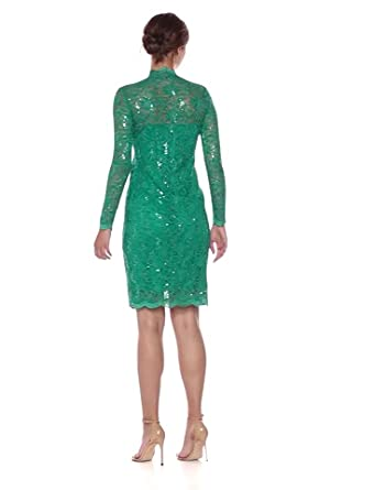 Marina Women/'s Green//Emerald Sequin Stretch Lace Sheath Dress