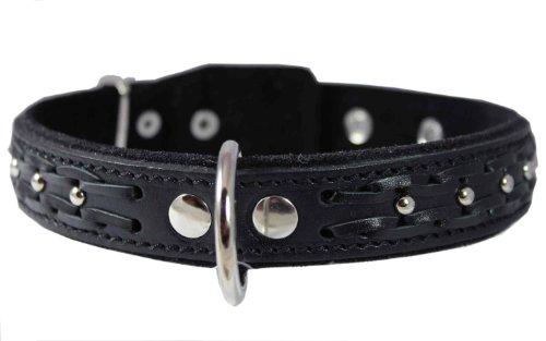 Genuine Leather Braided Studded Dog Collar, Black 1.25