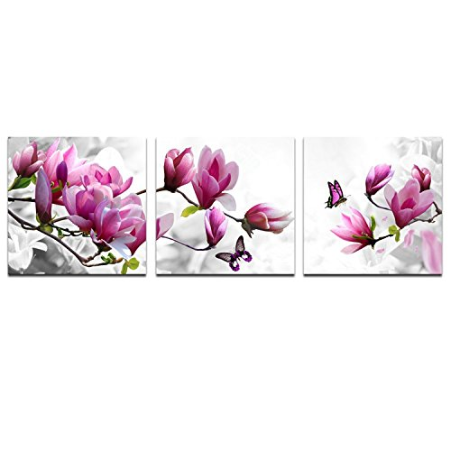 Grey Art- 3 Pics Pink Flower Print Picture Wall Art Modern Canvas Decor Prints Decoration on Living Room and Bedroom Gallery Stretched and Framed Ready to Hang 16x16inchx3pcs