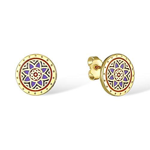 Santuzza Gold Plated Enamel Stud Disc Earrings Enamel Star Circle Flower Pattern by Santuzza