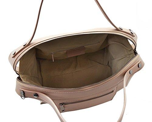 schouderleer Bag Smooth myitalianbag Italian Amber met verwijderbare Womens Rigid buitenzomen Nude 88E0wqr