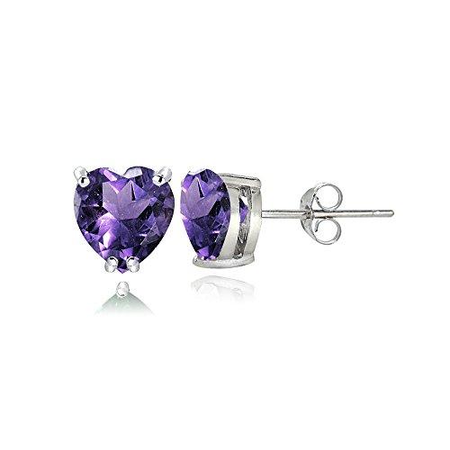 Heart Earring 5mm Amethyst (Sterling Silver Amethyst 5mm Heart Stud Earrings)