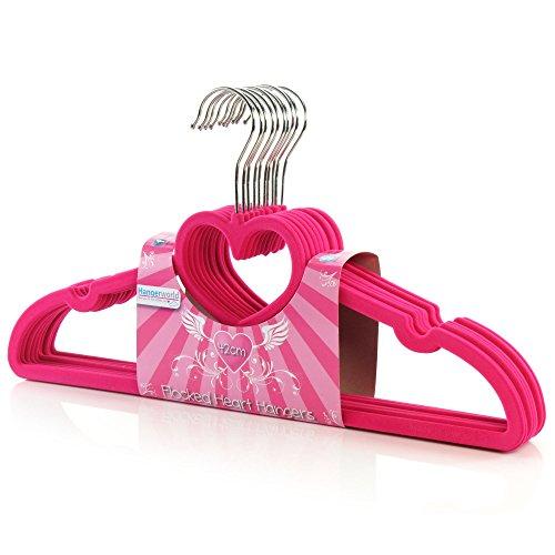 Kleiderbügel Beflockt amazon de 20 samt beflockte kleiderbügel mit herz pink 45 cm