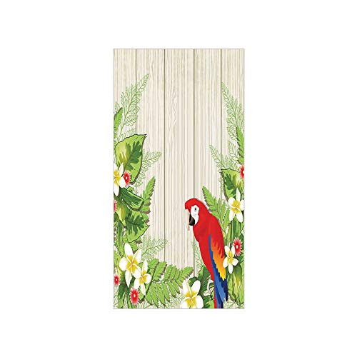 Decorative Privacy Window Film/Tropic Flowers and African Parrot in Summer Garden Wooden Wall Ferns Decorative Art/No-Glue Self Static Cling for Home Bedroom Bathroom Kitchen Office Decor Cream Green