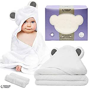 """Premium Hooded Baby Bath Towel - 100% Bamboo Organic Hypoallergenic Towels - Safe Durable Breathable Ultra Soft Absorbent - Unisex Boy Girl Infant Toddler Newborn - Shower Gift Set (32""""x 32"""")"""