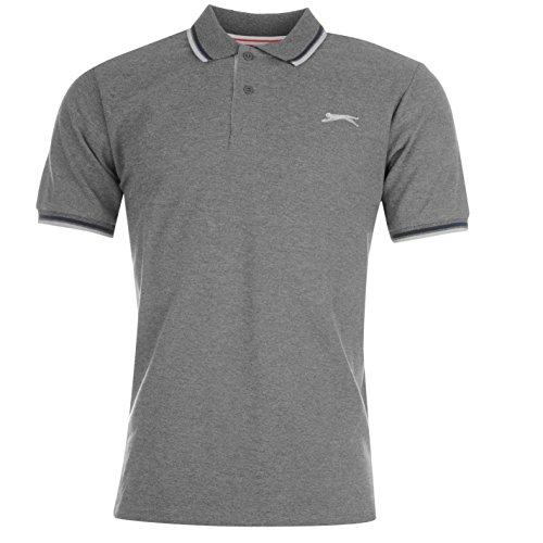 Slazenger Tipped Polo da uomo Charcoal Marl Top T-Shirt Tee