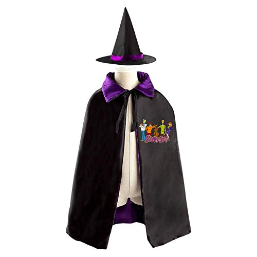 Velma And Shaggy Halloween Costumes (Halloween Scooby-Doo Wizard Witch Kids Childrens' Cape With Hat Party Costume Cloak purple)