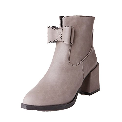 Gray Boots Low AgooLar top PU Heels Solid High Women's Zipper q6URw617