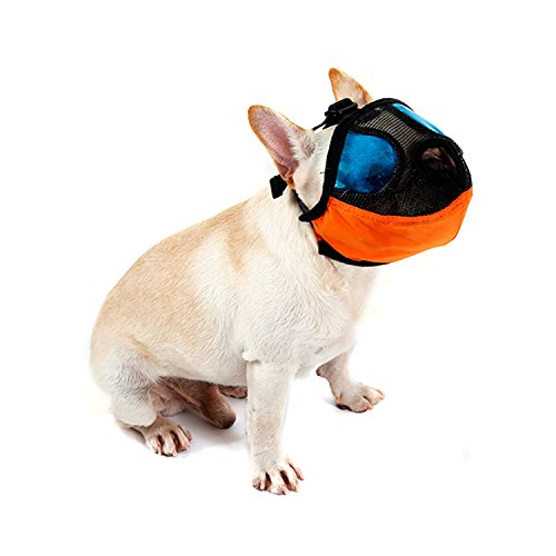 Nose Bumper (Bwogue Dog Muzzle with Adjustable Buckle-Anti Bark Bite Dog Mouth Mask for Short Nose - Flat Faced Dogs,Small)