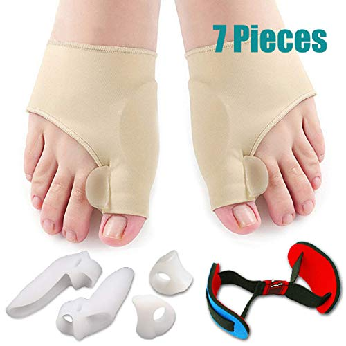 - Bunion Corrector & Bunion Relief Protector Sleeves Kit - Treat Pain in Hallux Valgus, Big Toe Joint, Hammer Toe, Toe Separators Spacers Straighteners Splint Aid Surgery treatment-7Pcs