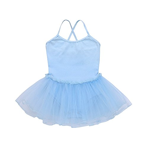 Kehen Toddler Girls Short Sleeve Ballet Dance Dress Tutu Skirted Leotard 2-6 Years Light Blue 2T