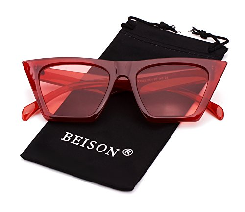 Beison Mens Womens Square Mod Fashion Sunglasses Tinted Lens (Red frame / Red lens, 55)