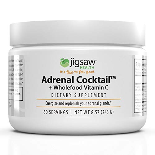Jigsaw Health Adrenal Cocktail Drinkable Powder Jar with Wholefood Vitamin C, Potasium, and Redmons Real Salt. Supports Adrenal Glad Function and Combats Adrenal Fatigue