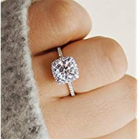Tripmark Tripmark 925 Sterling Silver Zircon Stone Engagement Wedding Band Ring Promise Rings Simulated Diamond Engagement Ring for Women (8)