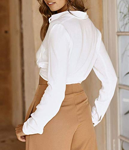 Bavero Top Lunga Blusa Single Bianca Manica Crop Primaverile al Stlie Ventre Eleganti Autunno Breasted Nodo Casual Colori Donna Shirts Senza Solidi Fashion Cime Grazioso Camicia HIdnqqWt