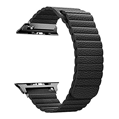 RUOQINI Compatible with Apple Watch Band 44mm 40mm [Series 4] 42mm 38mm [Series 3/2/1],Strong Magnetic Closure Leather Loop Replacement Starp Compatible for iWatch by RUOQINI