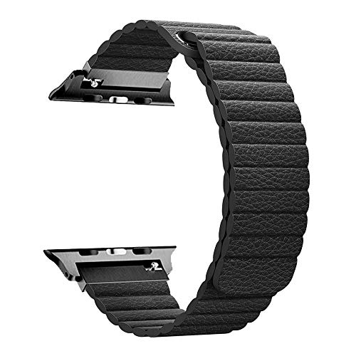 RUOQINI Compatible with Apple Watch Band 44mm [Series 4] 42mm [Series 3/2/1],Strong Magnetic Closure Leather Loop Replacement Starp Compatible for iWatch,Black