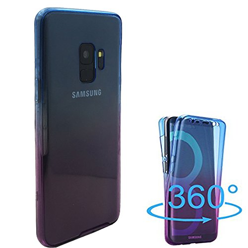 Samsung Galaxy S9 Case,AMASELL 360 Coverage Full Body Protective Shell Shockproof Front and Back Crystal Transparent Soft Silicone Rubber Cover Case Cover for Samsung Galaxy S9,Blue-Purple