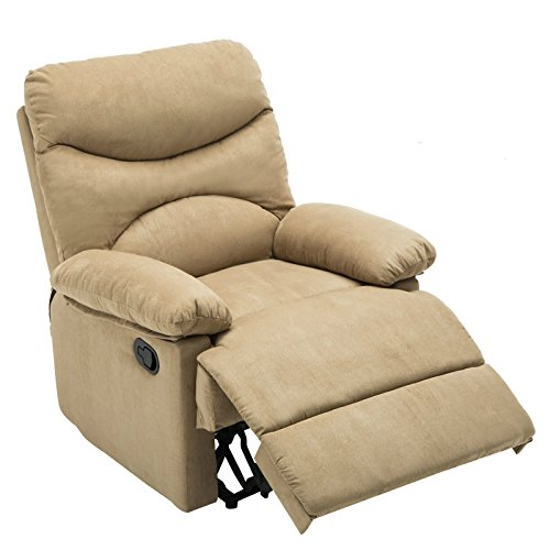 Mecor Heated Vibrating Massage Recliner Char Microfiber Sofa Ergonomic Lounge with Remote (Light Brown)