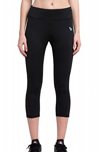 テニスる延ばすRed Plume ®女性の圧縮スポーツTight 3 / 4capr-pantsヨガPureブラックCropped
