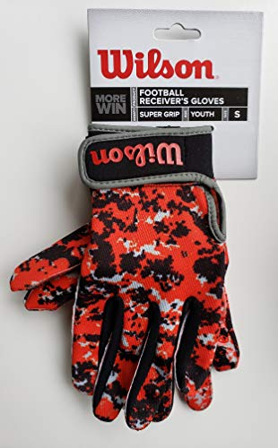 Wilson Super Grip Football Receiver's Gloves in Youth Sizes - Red Camo or Yellow Camo (Red Camo, Small)