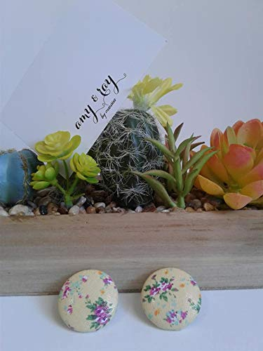 Fabric Covered Button Earrings/Yellow Floral