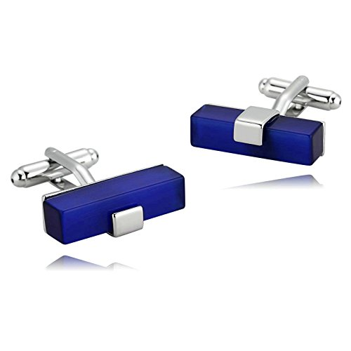 - Aooaz Cufflinks for Men Stainless Steel Silver Blue Rectangle Glass Shirt Retro 2.5X0.7CM Silver Blue