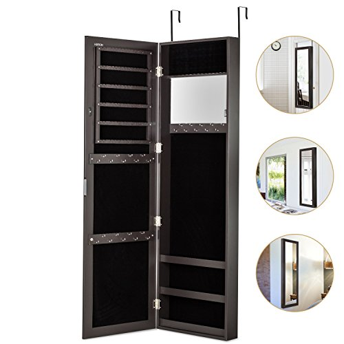 HERRON Wall Jewelry Cabinet Armoire with Mirror, Door or Wall Mounted Jewelry Box to Store Jewelry for Women,Brown